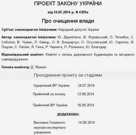Закон Украины О люстрации власти